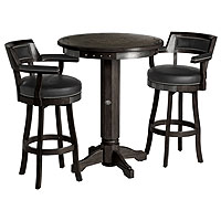 Attirant Bar U0026 Shield Flames Pub Table U0026 Backrest Stool Set   Vintage Black