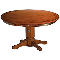 Bar & Shield Flames Poker Table w/ Heritage Brown finish