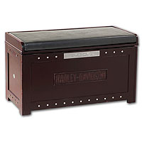 Bar & Shield Flames Storage Bench - Heritage Brown