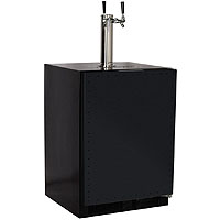 Kegerator Cabinet with 2 Faucet Home Brew Keg Tapping Kit - Black Cabinet/Overlay Door