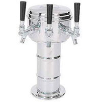 Chrome 3 Faucet Mini-Mushroom Draft Beer Tower - 4 Inch Column