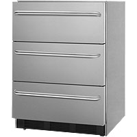Commercial SS 3-Drawer Refrigerator - Towel Bar Handles
