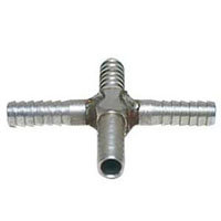 Stainless Steel Cross Fitting for 1/4 Inch I.D. Tubing