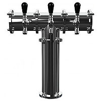 Stainless Steel Terra-3 3 Faucet Draft Beer Tower - 3.3 Inch Column - Glycol Cooled