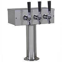 Brushed Stainless Steel T-Style 3 Faucet Beer Tower - 3