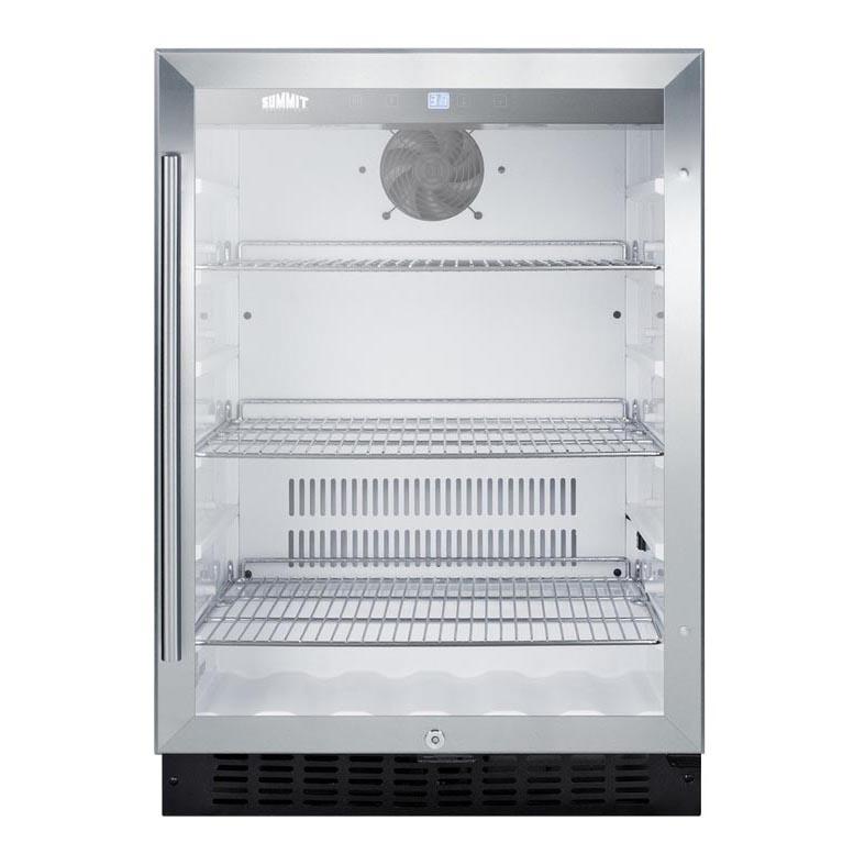 Summit Scr2464 Glass Door All Refrigerator 486 Cf Stainless Steel