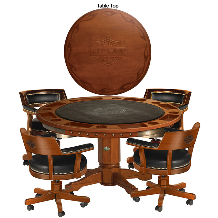 Bar Shield Flames Table Chairs Set Heritage Brown