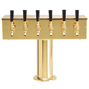 Photo of PVD Brass Six Faucet T-Style Draft Tower - 4 Inch Column