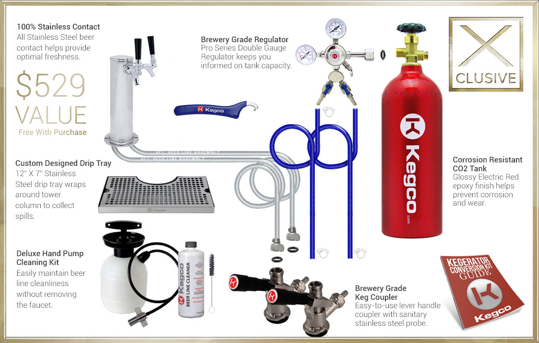 X-CLUSIVE Dispense System includes tower, drip tray, cleaning kit, regulator, keg coupler, and CO2 tank