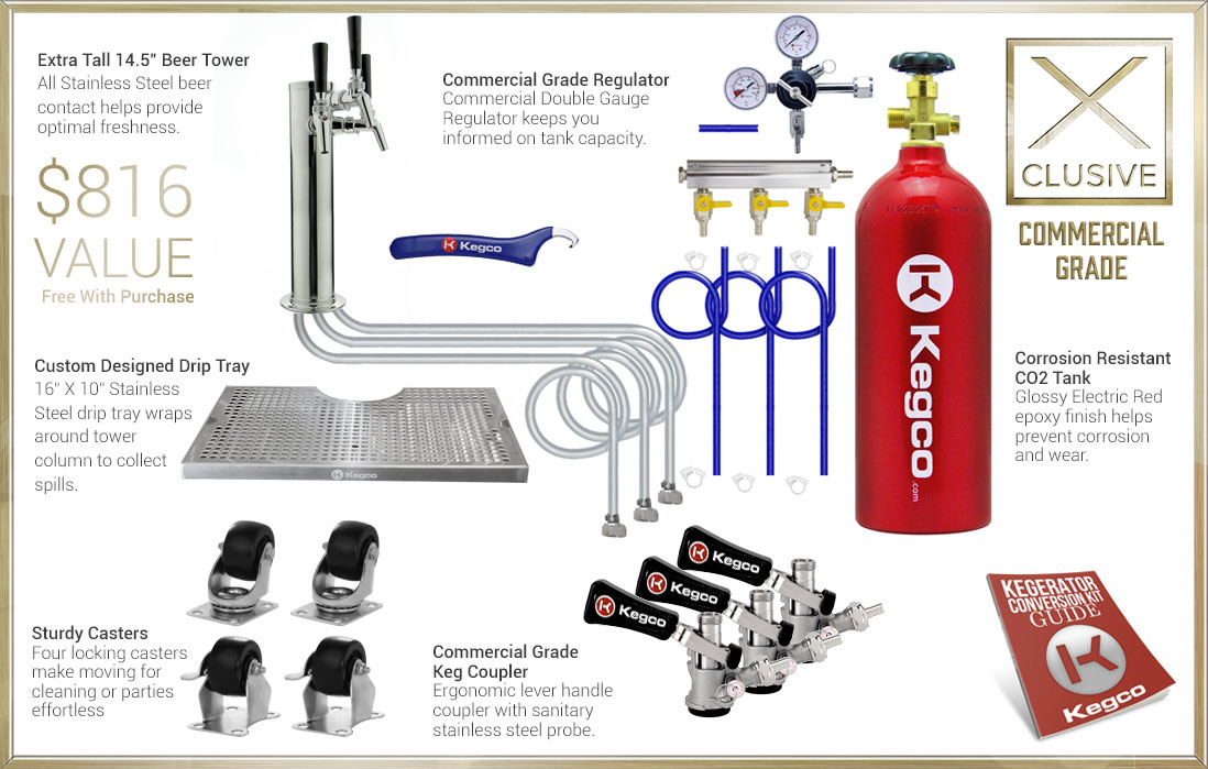 X-CLUSIVE Dispense System includes tower, drip tray, regulator, keg couplers, and CO2 tank