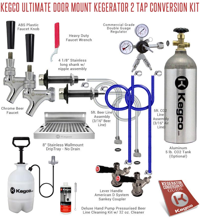 Beer Tap Embly Diagram | Kegco Ultimate Door Mount Diy Kegerator Two Tap Conversion Kit