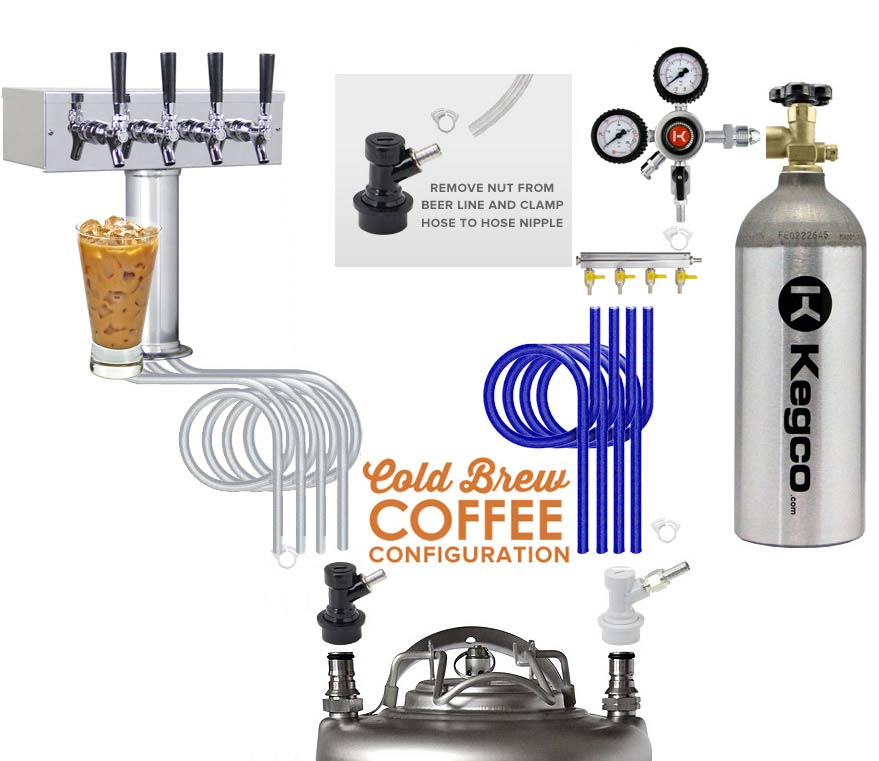 Kegco ICXCK-1B-4 Four Faucet Commercial Kegerator Iced Coffee Keg ...