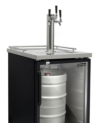 Tripple faucet keg configuration for kegerators