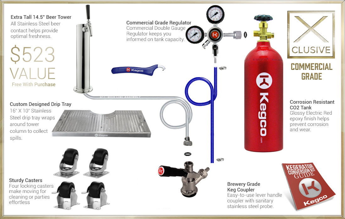 X-Clusive Dispense System includes tower, drip tray, regulator, keg coupler, and CO2 tank