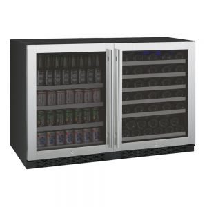 Photo of 47 inch Wide FlexCount Series 56 Bottle/154 Can Dual Zone Stainless Steel Side-by-Side Wine Refrigerator/Beverage Center