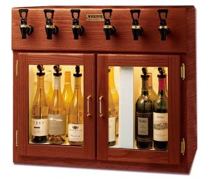 Photo of 32 inch Wide 6 Bottle Dual Zone Wood Wine Refrigerator and Dispenser