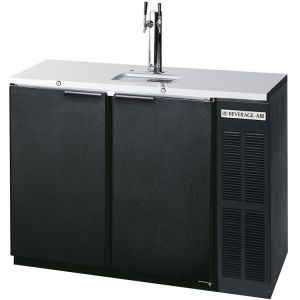 Photo of 48 inch Wide Dual Tap Black Commercial Kegerator