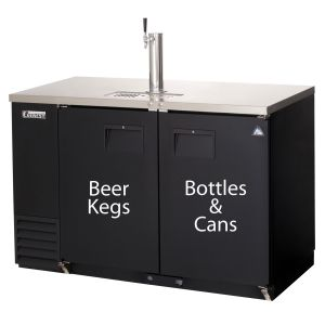 Photo of 57.75 inch Wide Black Commercial Back Bar & Kegerator