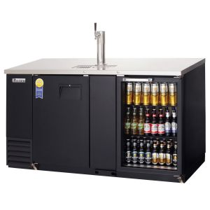 Photo of 68 inch Wide Black Back Bar & Kegerator