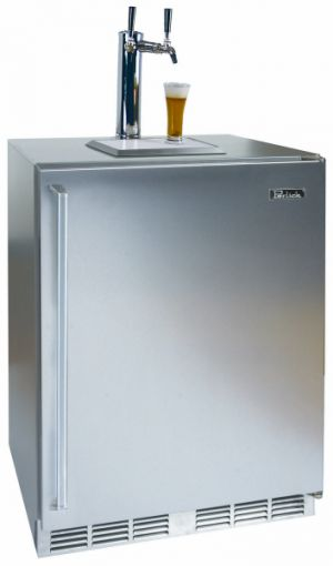 Photo of 24 inch Wide Dual Tap Panel Overlay Right Hinge Kegerator
