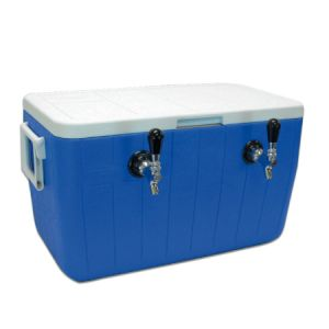 Photo of Double Faucet Jockey Box - 48 Qt., Two 5/16 inch O.D. 70' SS Coils - Blue