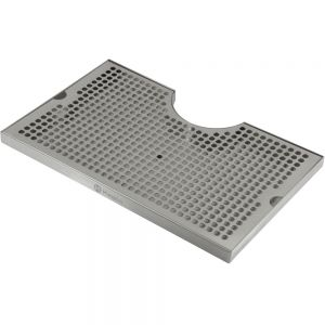 3 Photo of 16 inch x 10 inch Surface Mount Drip Tray - 3 inch Column Cut-Out - SS, with Drain