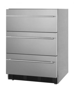 Photo of 24 inch Wide ADA Compliant Three Drawer Stainless Steel Refrigerator