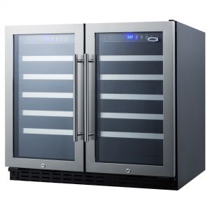 Photo of 36 inch Wide 68 Bottle Dual Zone Stainless Steel Built-In ADA Wine Refrigerator