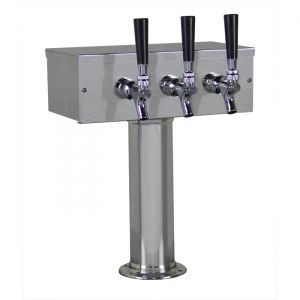 3 Photo of Kegco TTOW-3F-BRUSH Brushed Stainless Steel T-Style 3 Faucet Tower - 3 inch Column - 100% Stainless Contact