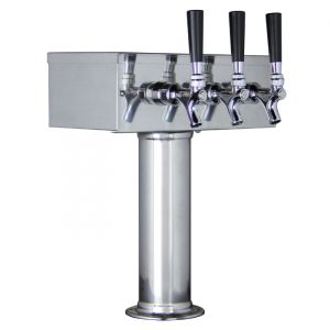 3 Photo of Kegco TTOW-3F-SS Polished Stainless Steel T-Style 3 Faucet Tower - Kegco.com