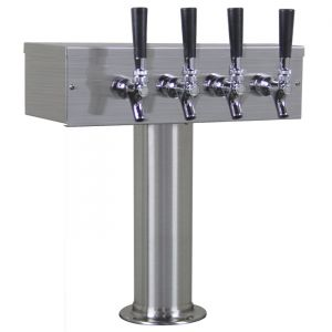 3 Photo of Kegco TTOW-4F-BRUSH Brushed Stainless Steel T-Style 4 Faucet Beer Tower - 3 inch Column - 100% Stainless Contact
