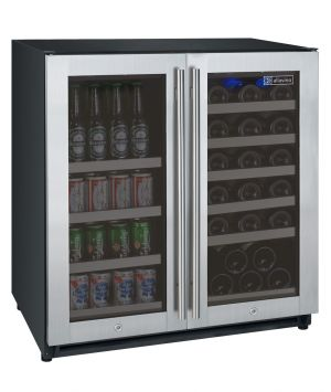 Photo of 30 inch Wide FlexCount Series 30 Bottle/88 Can Dual Zone Stainless Steel Built-In Wine Refrigerator/Beverage Center