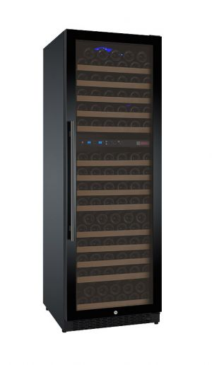 Photo of 24 inch Wide FlexCount Series 172 Bottle Dual Zone Black Right Hinge Wine Refrigerator