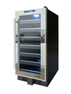 Photo of 15 inch Wide 33 Bottle Single Zone Mirrored Door Wine Refrigerator