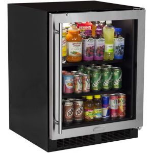 Photo of 24 inch ADA Beverage Center - Black Cabinet and Stainless Steel Frame Glass Door
