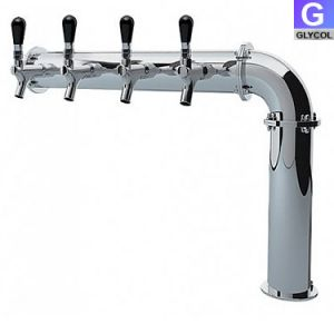 Photo of Stainless Steel Persey 4 Faucet Elbow Style Draft Beer Tower - 3.3 Inch Column - Glycol Cooled