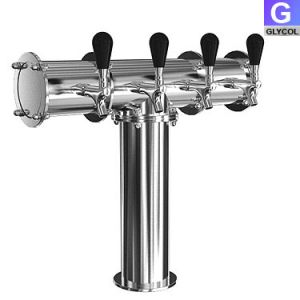 Photo of Stainless Steel Terra-4 4 Faucet Draft Beer Tower - 3.3 Inch Column - Glycol Cooled