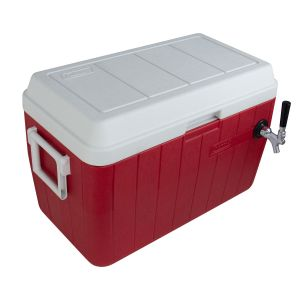 Photo of Single Faucet Jockey Box - 54 Qt., One 3/8 inch O.D. 120' SS Coil - Red - Side-Mounted Faucet