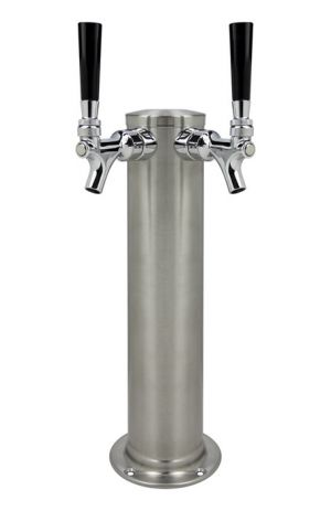 3 Photo of Kegco Brushed Stainless Steel Two Faucet Tower - 14.5 inch Tall, 3 inch Diameter, No Faucets
