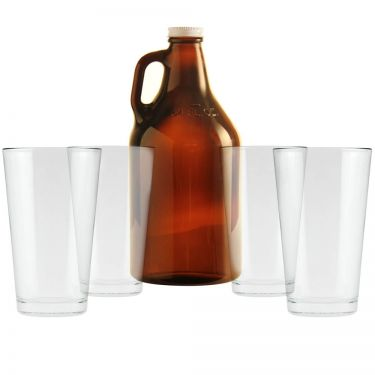 Amber Growler & Pint Glasses