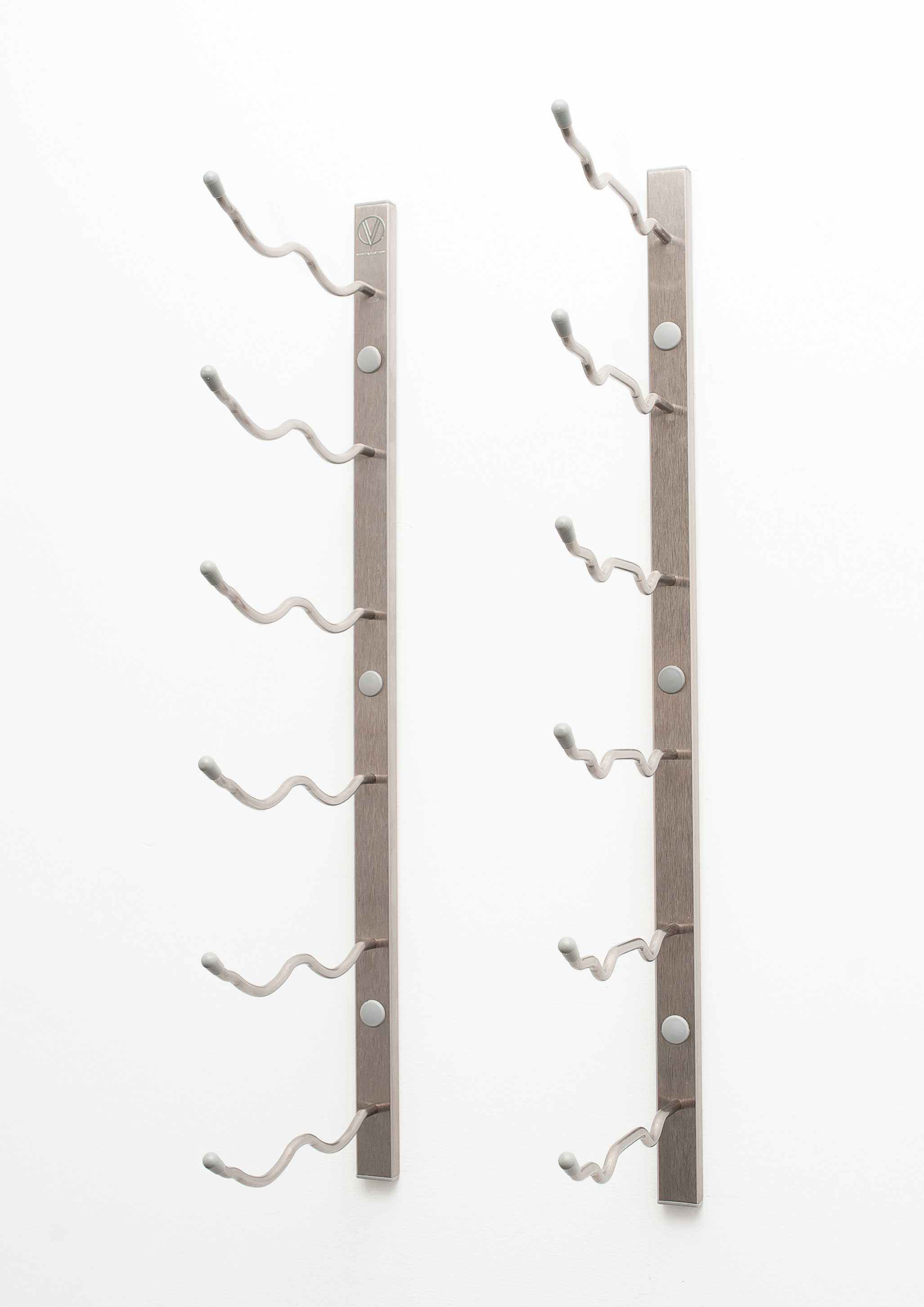 2 Wall Mount 12 Bottle Wine Rack Brushed Nickel Finish