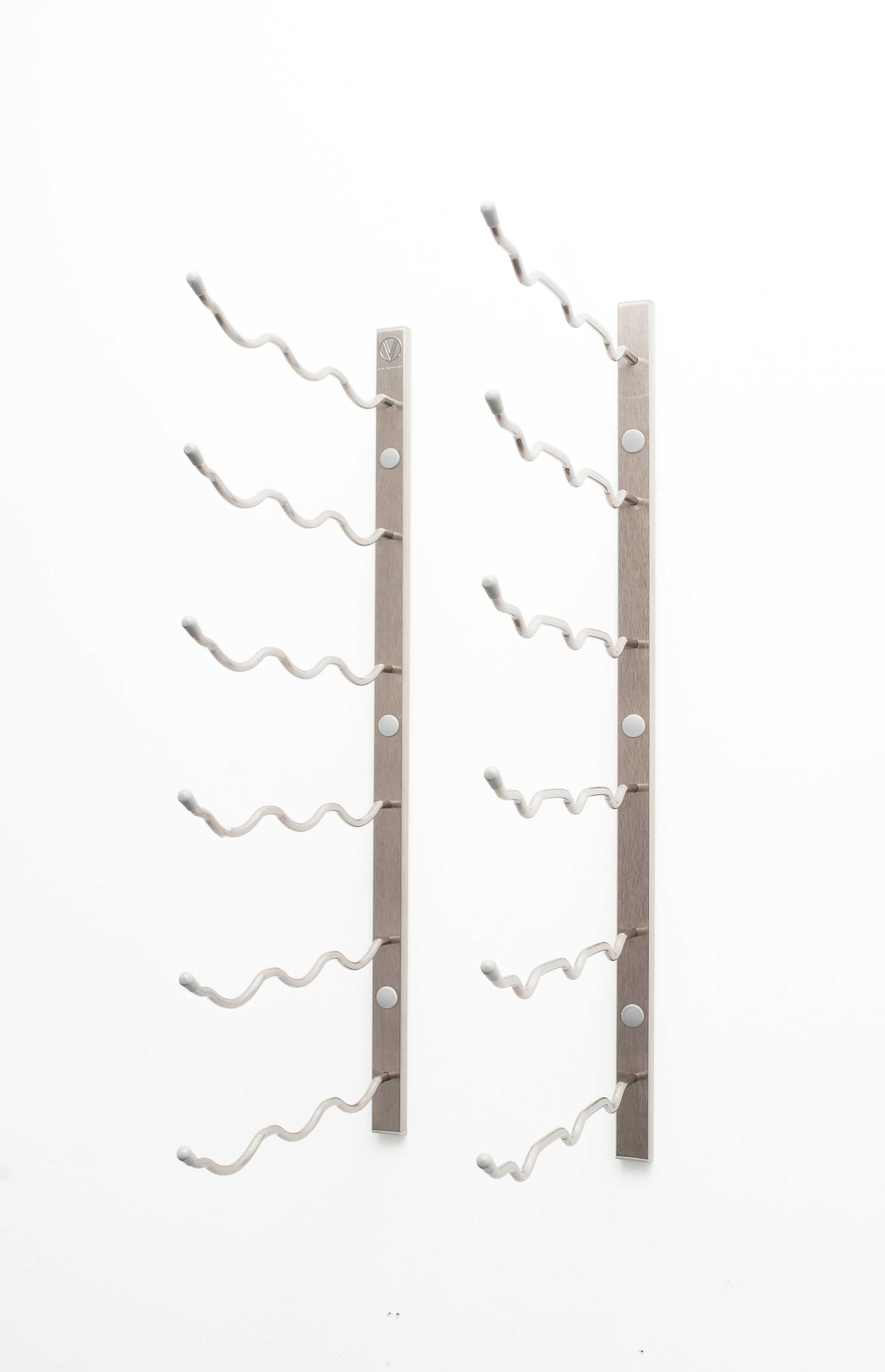 2 Wall Mount 18 Bottle Wine Rack Brushed Nickel Finish